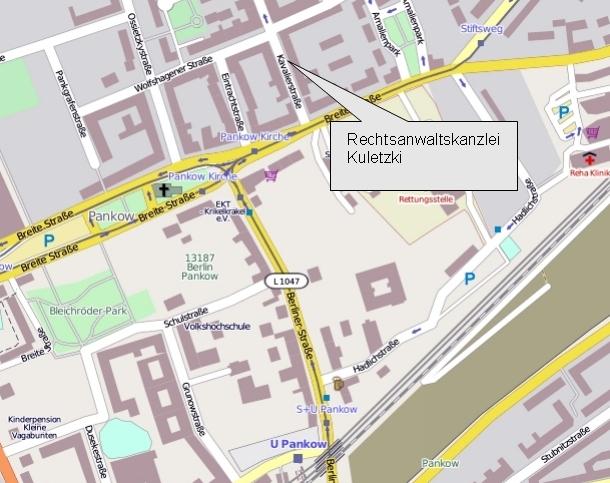 Lageplan der Rechtsanwaltskanzlei Kuletzki, Kavalierstraße in Berlin